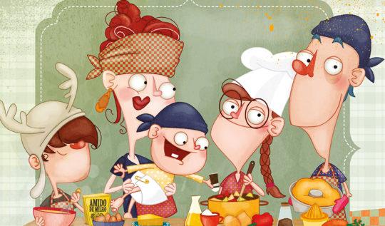 Familia Cuca na cozinha